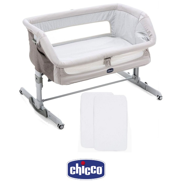 Chicco Next2me Dream Bedside Rocking Crib With 2 Fitted Sheets - Legend Grey