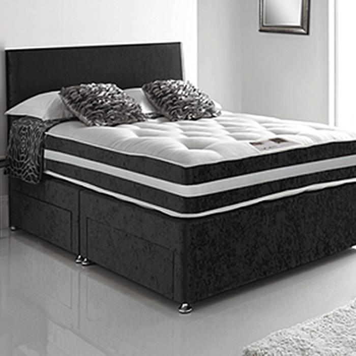 Black Velvet Divan Bed, Mattress, Headboard & Optional Drawers - 6 Sizes!