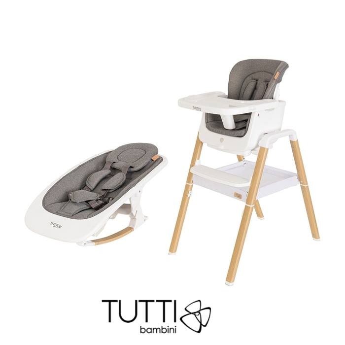 Tutti Bambini 2in1 Nova Highchair/Rocker Bundle-Oak/White