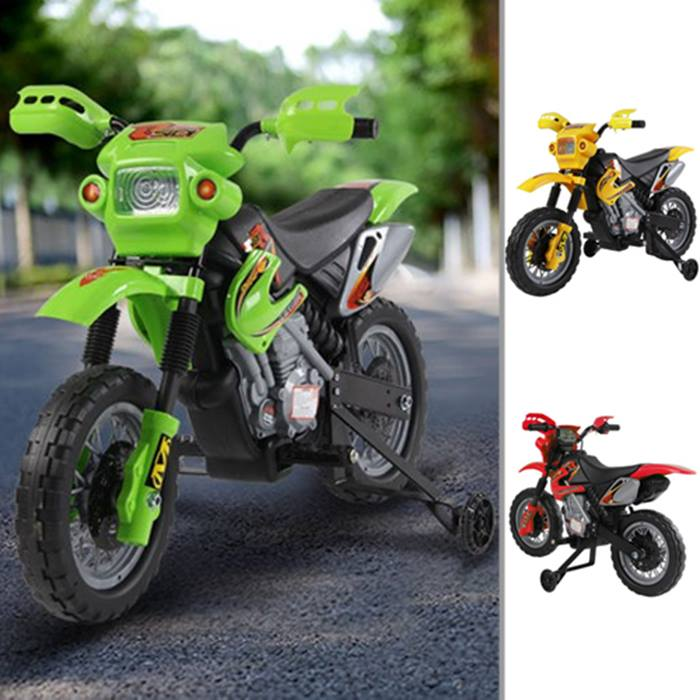 Kids' Electric Motorcycle - Red, Green or Yellow