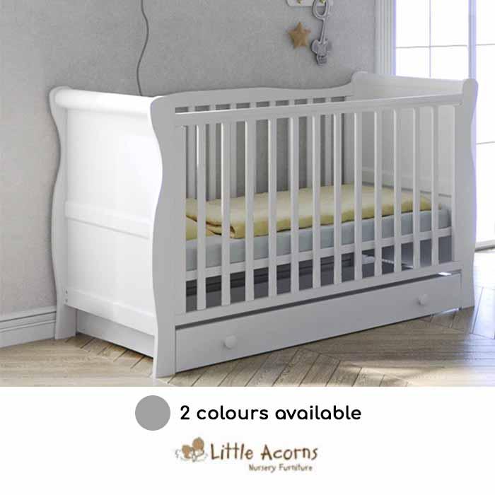Little Acorns Sleigh Cot With Deluxe Foam Mattress & Drawer
