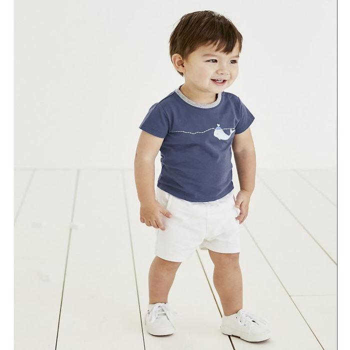 white company shorts and tee