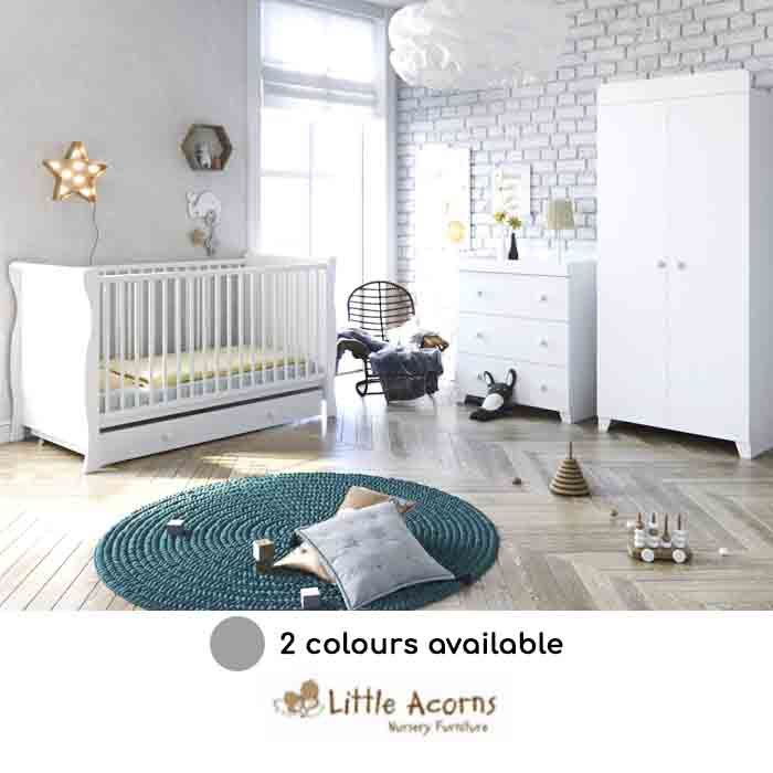 Little Acorns Sleigh Cot Bed 6 Piece Nursery Furniture Set With Deluxe 4inch Foam Mattress