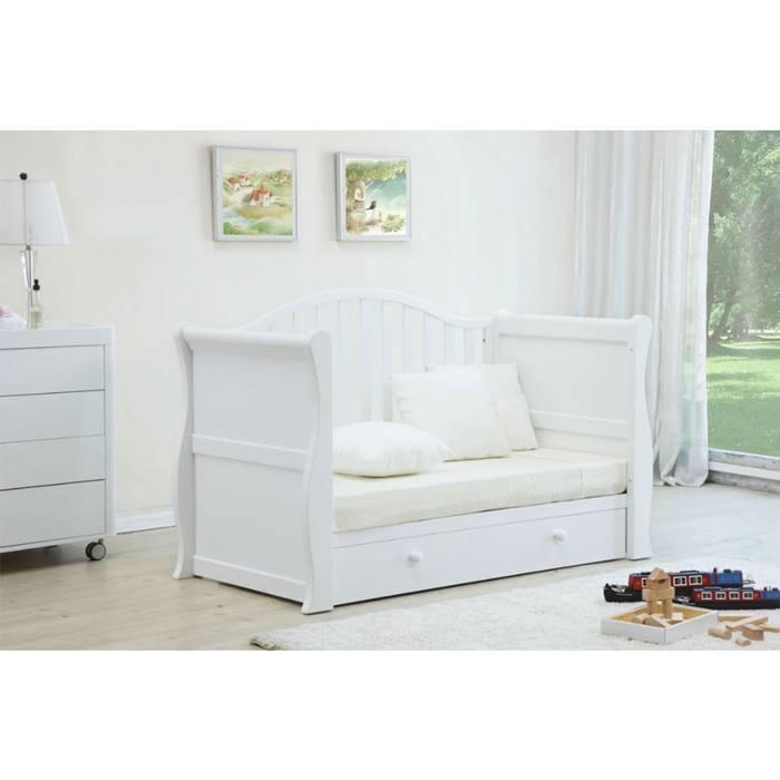 Babylo Sleigh Cot Bed & Fibre Mattress (White)