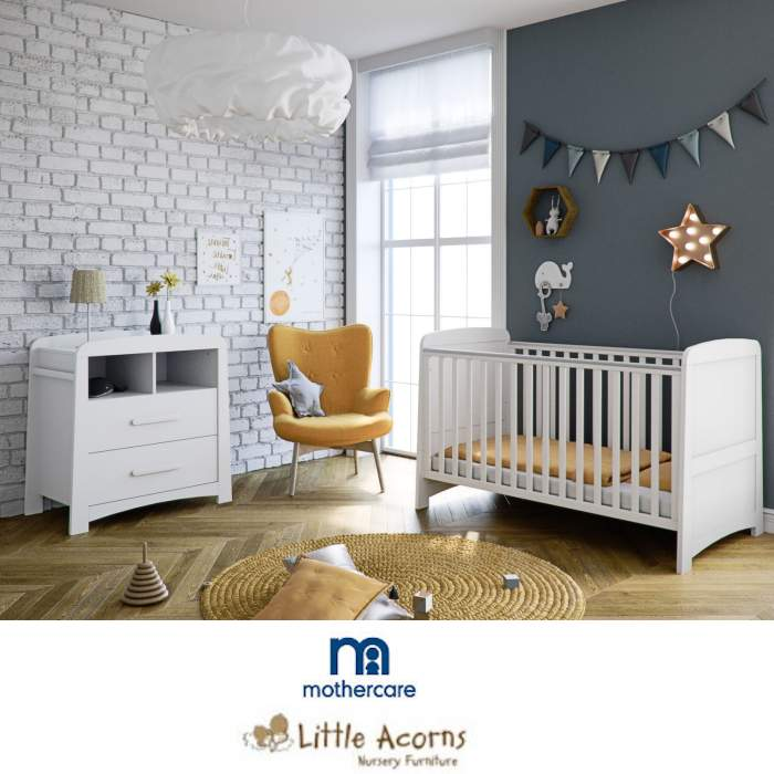 Mothercare Little Acorns Somerton Cot Bed 3 Piece Nursery Furniture Set with Deluxe Foam Mattress - White