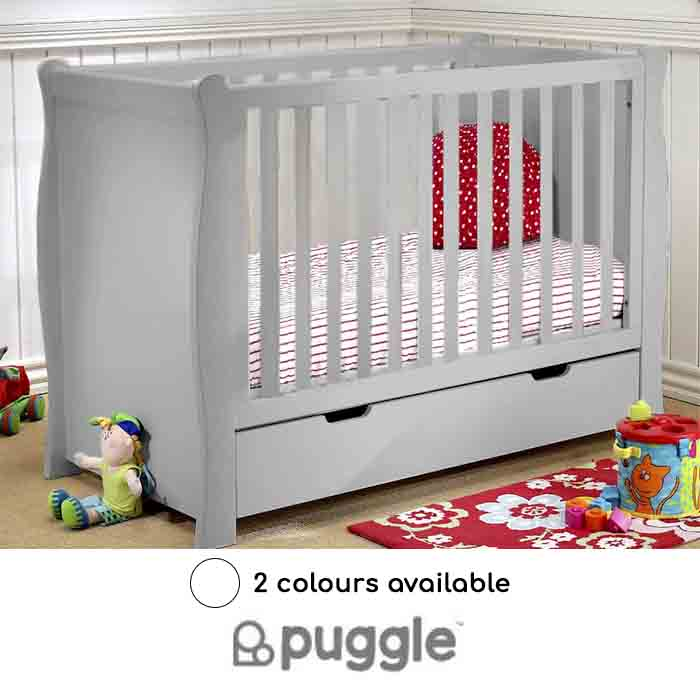 Puggle Sleigh Cot With Drawer Foam Mattress