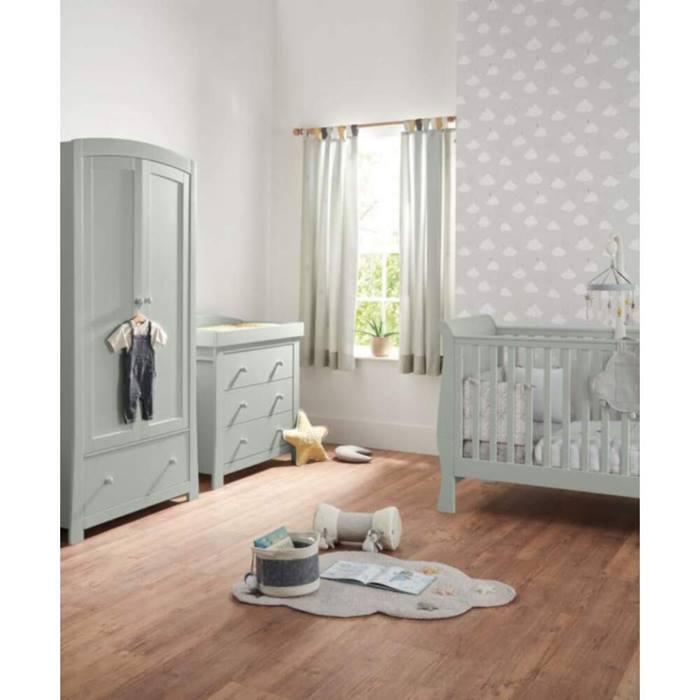 Mamas & Papas Mia 3pc Sleigh Cot Bed Furniture Set & Premium Mattress Bundle (Cool Grey)