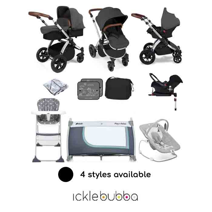 Ickle Bubba Stomp V3 Silver (Galaxy) Everything You Need Travel System Bundle (With Base)