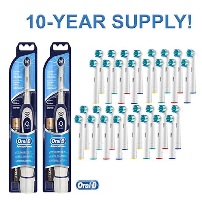 2 x Braun Advance Oral-B Battery-Powered Toothbrushes with 40 x Compatible Replacement Heads