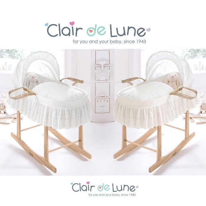 Clair De Lune Palm Moses Basket & Rocking Stand