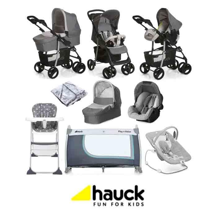 Hauck Shopper SLX Trio Set Everything You Need Travel System Bundle - Stone Grey