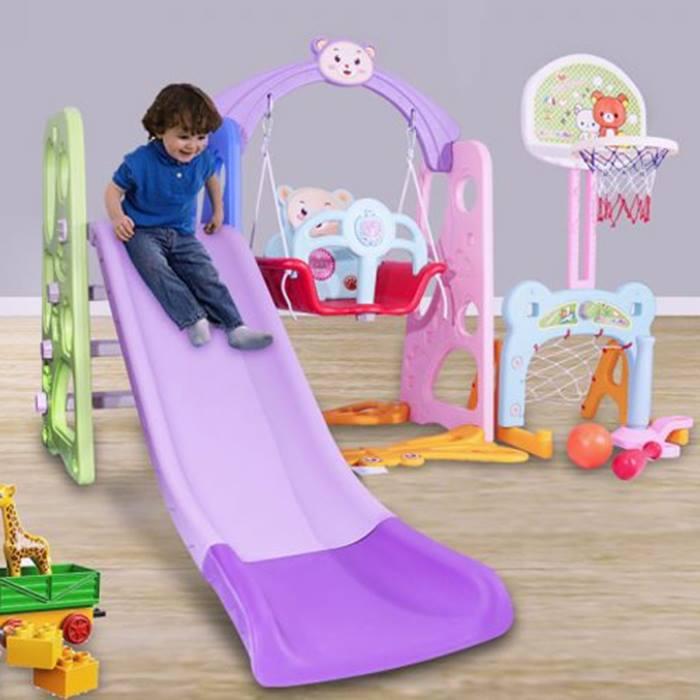 5-In-1 Kid's Slide, Swing & Hoop Set