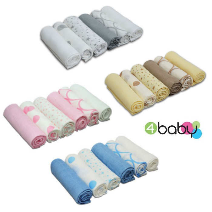 Cuddles Collection Pack of 6 Muslin Squares Mixed Designs pspimage BOUNTY