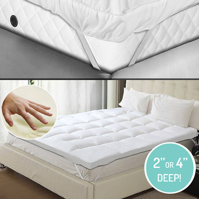 2 or 4 Inch Deep-Filled Anti Allergenic Quilted Mattress Topper - 4 Sizes