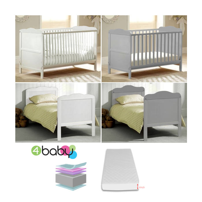 4Baby Classic Cot Bed With Luxury Foam Mattress - curvey top