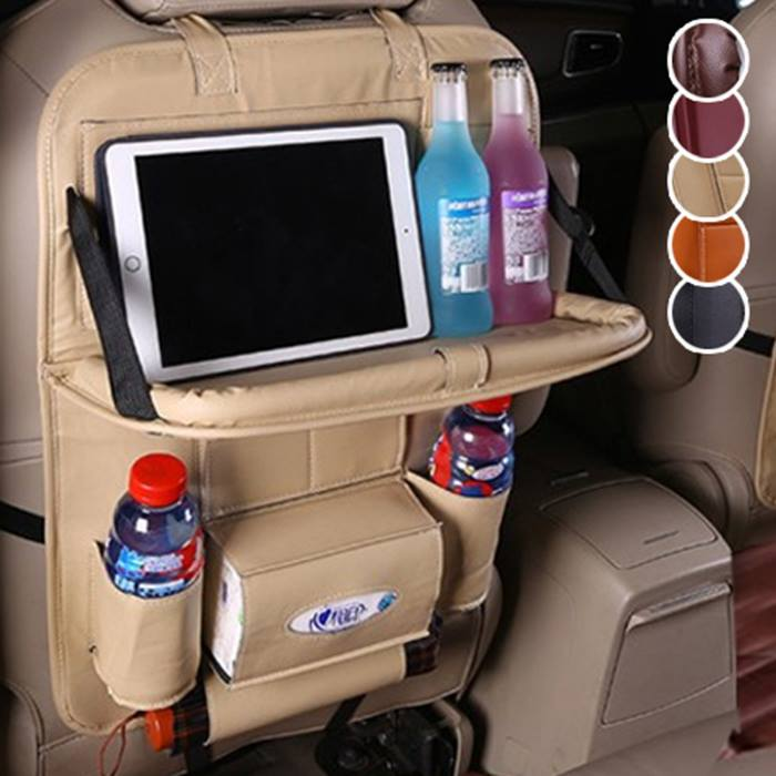 Faux Leather Car Seat Organiser with Table & Drinks Holders - 5 Colours