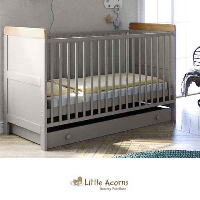 Little Acorns Classic Milano Cot Bed with Deluxe Foam Mattress - Grey and Oak