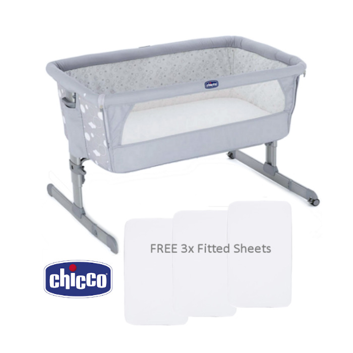 Chicco Next2Me Crib With 3 Fitted Sheets - Circles