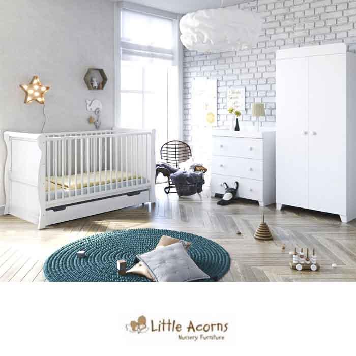 4Baby Little Acorns Sleigh Cot Bed 5 Piece Nursery Furniture Set With Deluxe 4inch Foam Mattress - White