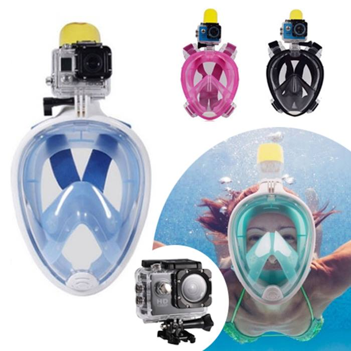 Snorkel Mask with GoPro Compatible Mount & Optional 1080P Camera - 4 Colours