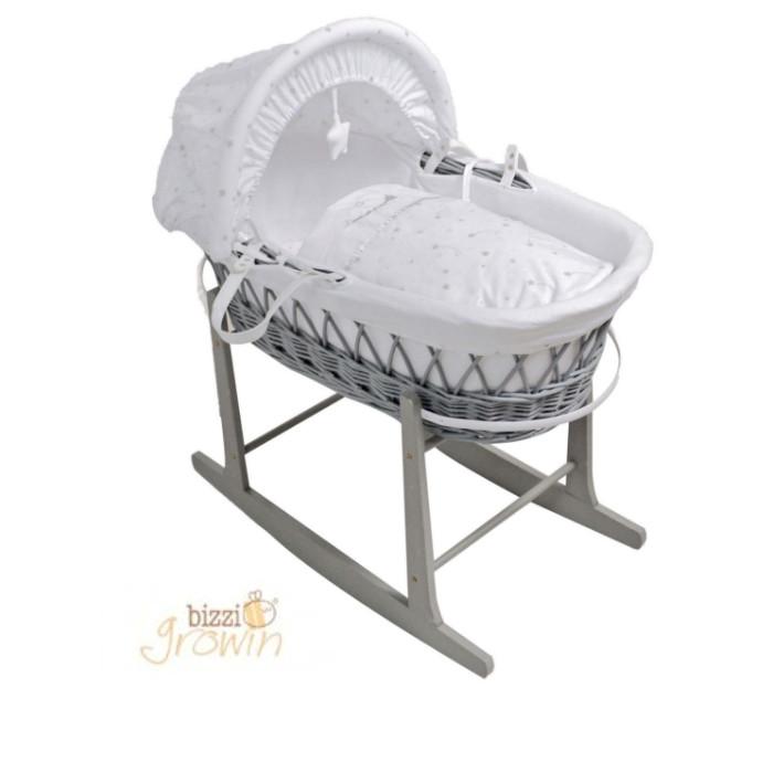 Bizzi Growin Designer Luxury Padded Grey Wicker Baby Moses Basket