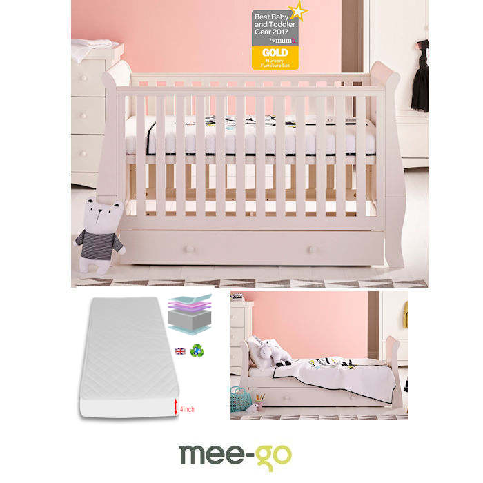 MeeGo Oslo Cot Bed With Drawer  Foam  Mattress  Ivory White