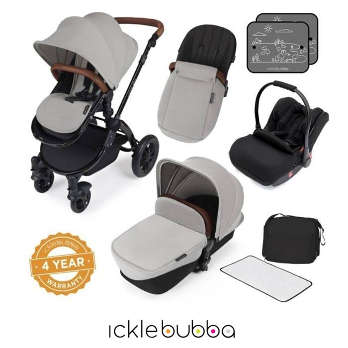 Ickle Bubba Stomp V3 Black Frame 3in1 Travel System-Silver