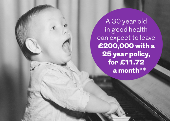 A 30 year old in good health can expect to leave £200,000 with a 25 year policy, for £11.72 a month**