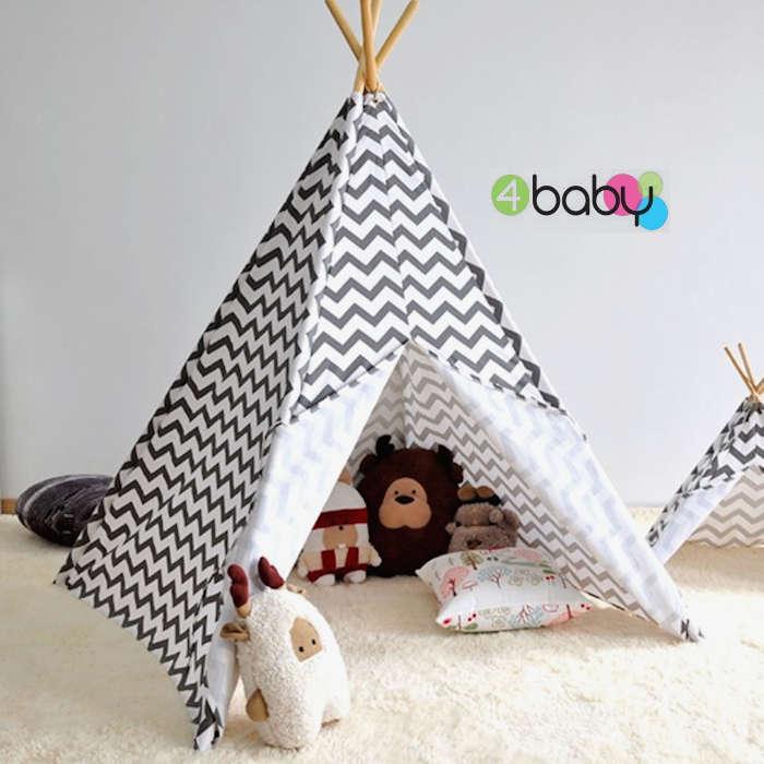4baby Large Kids Teepee  Baby Play Tent - Chevron Grey