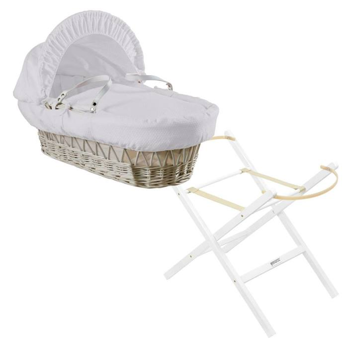Clair de Lune White Wicker Moses Basket & Folding Stand