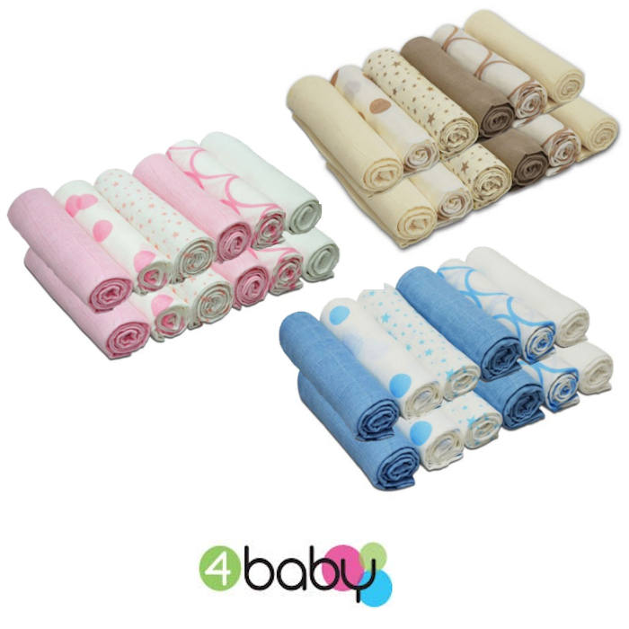 4baby Cotton Muslin Squares 12 Pack Mixed Designs