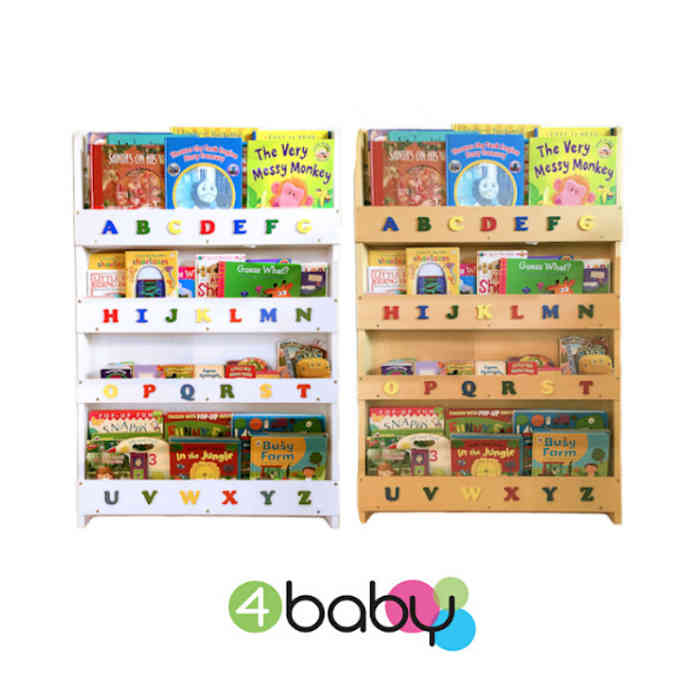 4baby Childrens Deluxe Alphabet Book Shelf- Storage Tidy - Organiser
