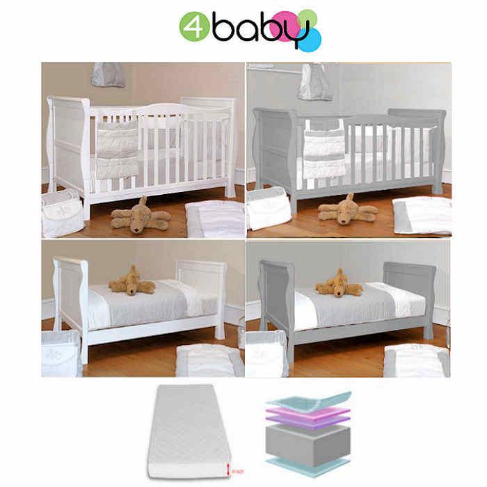 4baby Sleight Cot Bed  Mattress