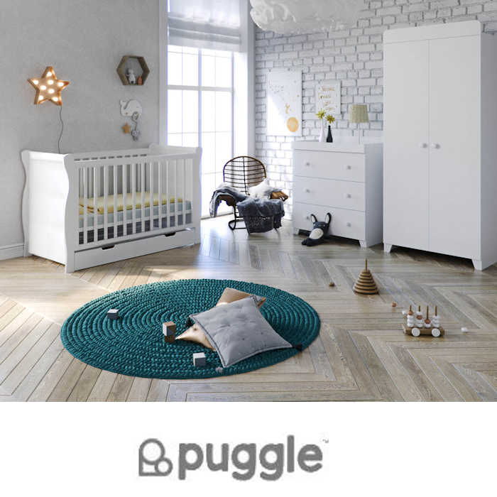 Puggle Little Acorns Sleigh Cot 6 Piece Nursery Furniture Set With Deluxe 4inch Foam Mattress - White