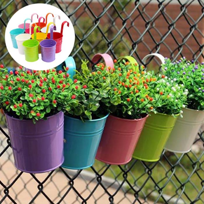 Multicolour Metal Hanging Flower Pots - 5 or 10 Pots