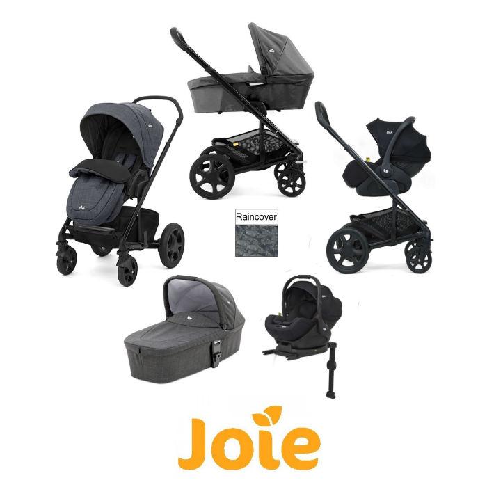 Joie Chrome DLX iLevel Travel System With Carrycot inc Footmuff  ISOFIX Base
