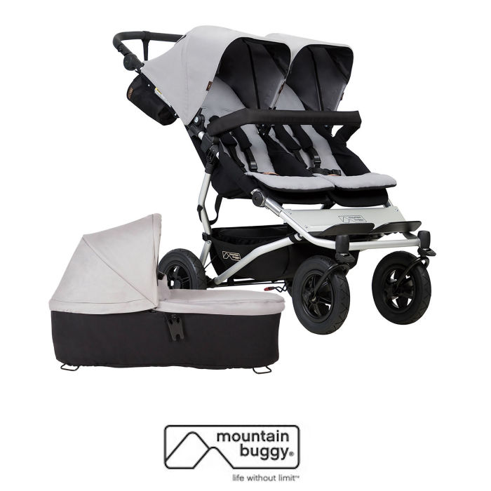 Mountain Buggy Duet V3 Twin Pushchair & Duet Plus Carrycot - Silver