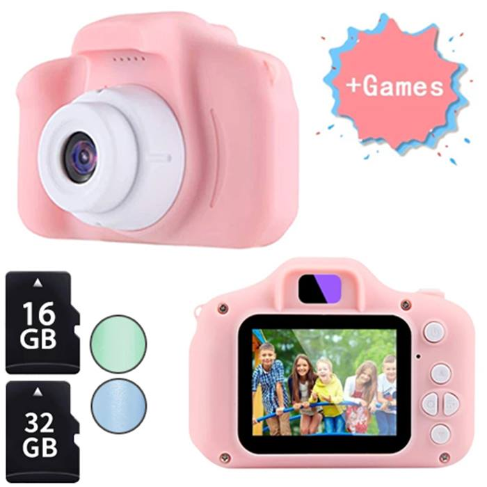 720P or 1080P Kids' Digital Camera - 3 Colours & Optional 16GB or 32GB SD Card