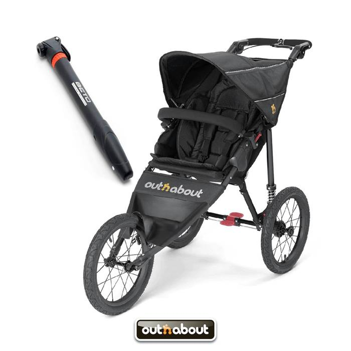 Out n About Nipper SPORT V4 Stroller - Raven Black With FREE Mini Tyre Pump!