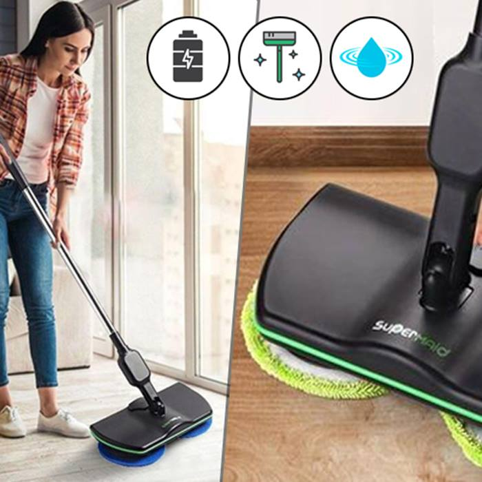 SuperMaid 2-in-1 Rechargeable Cordless Floor Cleaner & Polisher
