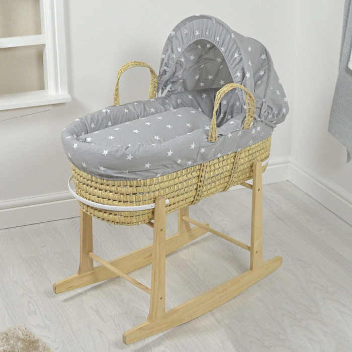 4baby Luxury Palm Moses Basket  Rocking Stand  Grey  White Stars