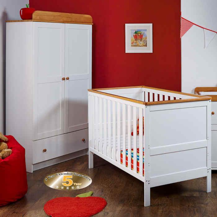 obaby newark 3 piece room set cot bed wardrobe matt  white  pine