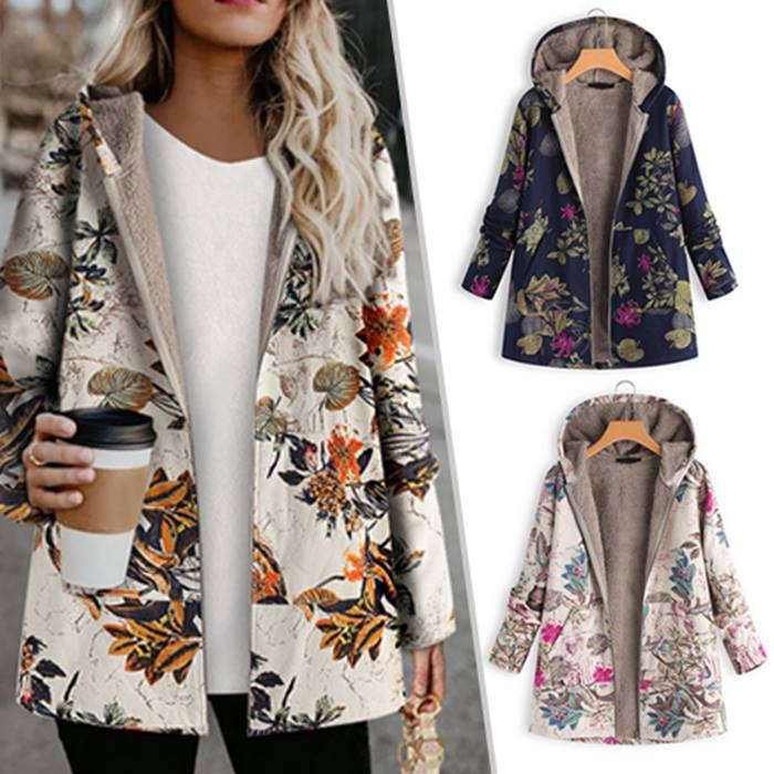 Autumn Print Fleece Lined Hooded Jacket - 8 Sizes & 3 Colours