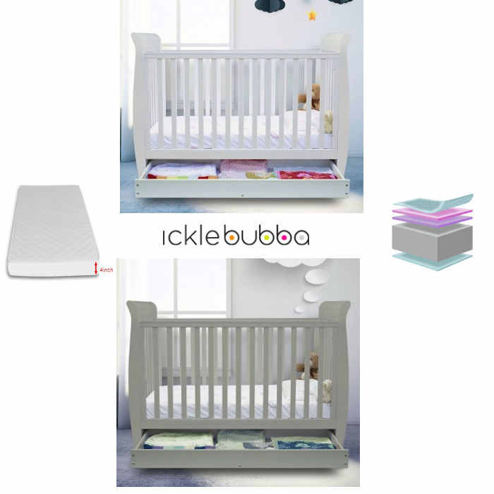 Ickle Bubba Luna 3 In 1 Cot Bed With Storage Drawer  Corovin Mattress