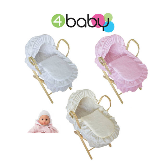 4baby Dolls Deluxe Broderie Anglais Moses Basket  Stand