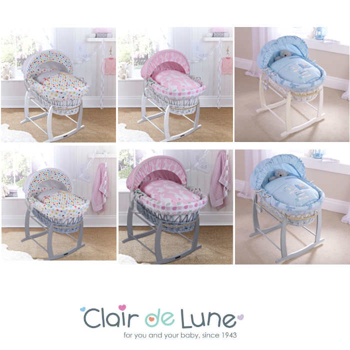 Clair De Lune Padded White Wicker Baby Moses Basket Deluxe Rocking Stand