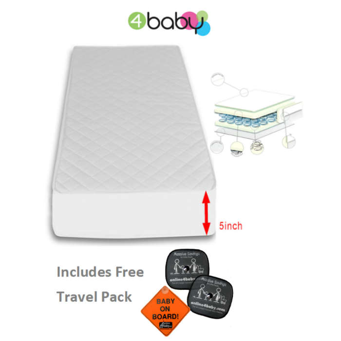 4Baby Hypo Allergenic Quilted Spot Sprung CotBed Mattress  Travel Pack