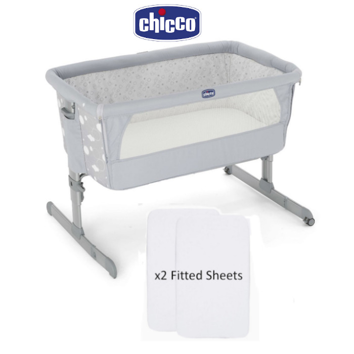 Chicco Next2Me Crib With 2 Fitted Sheets - Circles