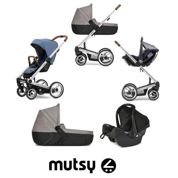 Mutsy I2 Heritage (Silver Chassis) Travel System (Gemm) With i2 Farmer Sand Carrycot - Heritage Blue