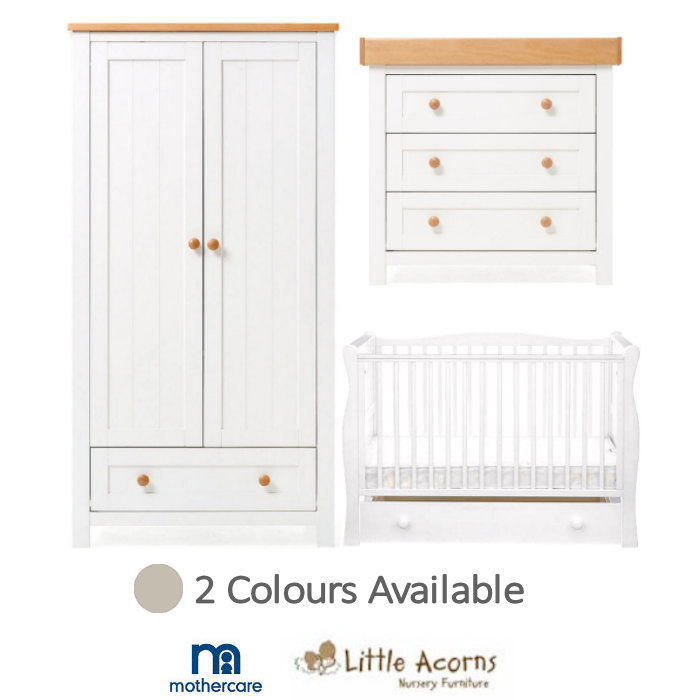 Mothercare Little Acorns Sleigh Cot Bed & Drawer 6 Piece Nursery Furniture Set With Deluxe 4inch Foam Mattress